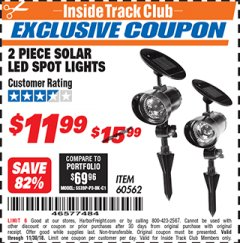 Harbor Freight ITC Coupon 2 PIECE SOLAR LED SPOT LIGHTS Lot No. 60562 Expired: 11/30/18 - $11.99
