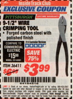 "Harbor Freight ITC Coupon 9-1/2"" WIRE CRIMPING TOOL Lot No. 36411 Expired: 7/31/19 - $3.99"