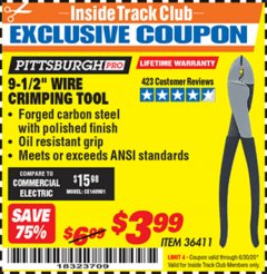 "Harbor Freight ITC Coupon 9-1/2"" WIRE CRIMPING TOOL Lot No. 36411 Dates Valid: 12/31/69 - 6/30/20 - $3.99"