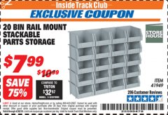 Harbor Freight ITC Coupon 20 BIN RAIL MOUNT STACKABLE PARTS STORAGE Lot No. 41949 Expired: 4/30/19 - $7.99