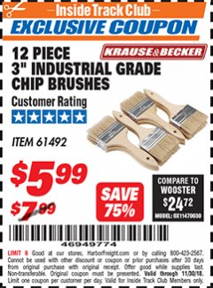 "Harbor Freight ITC Coupon 3"" INDUSTRIAL GRADE CHIP BRUSHES PACK OF 12 Lot No. 4183/61492 Expired: 11/30/18 - $5.99"