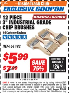 "Harbor Freight ITC Coupon 3"" INDUSTRIAL GRADE CHIP BRUSHES PACK OF 12 Lot No. 4183/61492 Expired: 2/28/19 - $5.99"