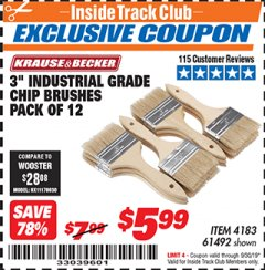 "Harbor Freight ITC Coupon 3"" INDUSTRIAL GRADE CHIP BRUSHES PACK OF 12 Lot No. 4183/61492 Expired: 9/30/19 - $5.99"