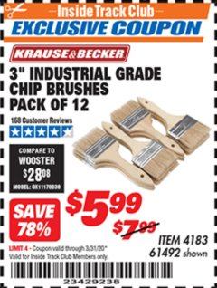 "Harbor Freight ITC Coupon 3"" INDUSTRIAL GRADE CHIP BRUSHES PACK OF 12 Lot No. 4183/61492 Expired: 3/31/20 - $5.99"