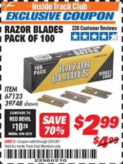 Harbor Freight ITC Coupon INDUSTRIAL QUALITY SINGLE EDGE UTILITY BLADES PACK OF 100 Lot No. 39748/67123 Expired: 3/31/20 - $2.99