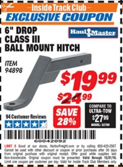 "Harbor Freight ITC Coupon CLASS III BALL MOUNT HITCH WITH 6"" DROP Lot No. 94898 Expired: 12/31/18 - $19.99"