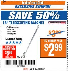 "Harbor Freight ITC Coupon 18"" TELESCOPING MAGNET Lot No. 37187 Expired: 10/30/18 - $2.99"