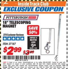"Harbor Freight ITC Coupon 18"" TELESCOPING MAGNET Lot No. 37187 Expired: 1/31/19 - $2.99"