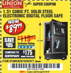 Harbor Freight Coupon 1.51 CUBIC FT. SOLID STEEL DIGITAL FLOOR SAFE Lot No. 61565/62678/91006 Expired: 6/13/18 - $89.99