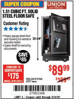 Harbor Freight Coupon 1.51 CUBIC FT. SOLID STEEL DIGITAL FLOOR SAFE Lot No. 61565/62678/91006 Expired: 5/14/18 - $89.99