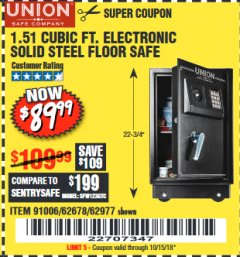 Harbor Freight Coupon 1.51 CUBIC FT. SOLID STEEL DIGITAL FLOOR SAFE Lot No. 61565/62678/91006 Expired: 10/15/18 - $89.99