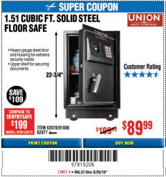 Harbor Freight Coupon 1.51 CUBIC FT. SOLID STEEL DIGITAL FLOOR SAFE Lot No. 61565/62678/91006 Expired: 8/26/18 - $89.99
