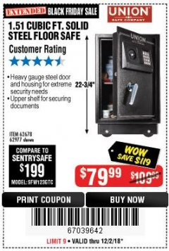 Harbor Freight Coupon 1.51 CUBIC FT. SOLID STEEL DIGITAL FLOOR SAFE Lot No. 61565/62678/91006 Expired: 12/2/18 - $79.99