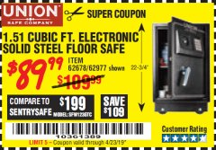 Harbor Freight Coupon 1.51 CUBIC FT. SOLID STEEL DIGITAL FLOOR SAFE Lot No. 61565/62678/91006 Expired: 4/23/19 - $89.99