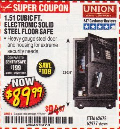 Harbor Freight Coupon 1.51 CUBIC FT. SOLID STEEL DIGITAL FLOOR SAFE Lot No. 61565/62678/91006 Expired: 2/28/19 - $89.99