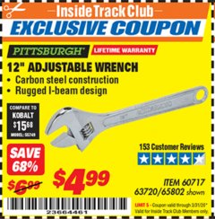 "Harbor Freight ITC Coupon 12"" ADJUSTABLE STEEL WRENCH Lot No. 60717/65802 Expired: 3/31/20 - $4.99"
