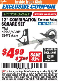 "Harbor Freight ITC Coupon 12"" COMBINATION SQUARE Lot No. 62968/92471 Expired: 5/31/18 - $4.99"