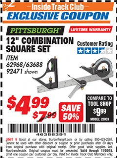 "Harbor Freight ITC Coupon 12"" COMBINATION SQUARE Lot No. 62968/92471 Expired: 11/30/18 - $4.99"