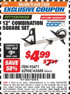 "Harbor Freight ITC Coupon 12"" COMBINATION SQUARE Lot No. 62968/92471 Dates Valid: 5/3/19 - 5/31/19 - $4.99"