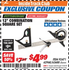 "Harbor Freight ITC Coupon 12"" COMBINATION SQUARE Lot No. 62968/92471 Expired: 11/30/19 - $4.99"