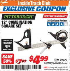 "Harbor Freight ITC Coupon 12"" COMBINATION SQUARE Lot No. 62968/92471 Expired: 3/31/20 - $4.99"