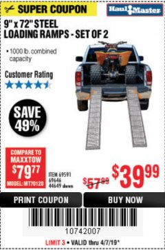 Harbor Freight Coupon 1000 LB. STEEL LOADING RAMPS, SET OF TWO Lot No. 44649 EXPIRES: 5/31/19 - $39.99