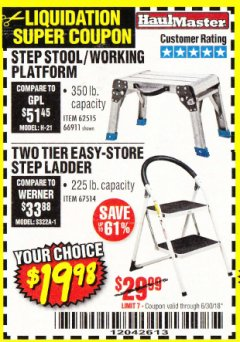 Harbor Freight Coupon STEP STOOL/WORKING PLATFORM Lot No. 66911/62515 Expired: 6/30/18 - $19.98