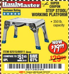 Harbor Freight Coupon STEP STOOL/WORKING PLATFORM Lot No. 66911/62515 Expired: 10/15/18 - $19.99