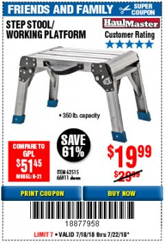 Harbor Freight Coupon STEP STOOL/WORKING PLATFORM Lot No. 66911/62515 Expired: 7/22/18 - $19.99
