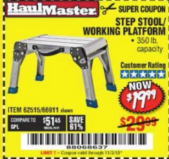Harbor Freight Coupon STEP STOOL/WORKING PLATFORM Lot No. 66911/62515 Expired: 11/3/18 - $19.99