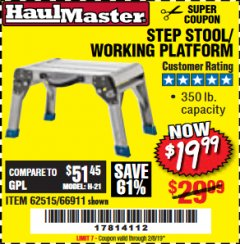 Harbor Freight Coupon STEP STOOL/WORKING PLATFORM Lot No. 66911/62515 Expired: 2/8/19 - $19.99