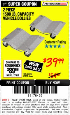 Harbor Freight ITC Coupon 2 PIECE 1500 LB. CAPACITY VEHICLE WHEEL DOLLIES Lot No. 60343/67338 Expired: 1/10/19 - $39.99