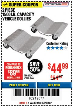 Harbor Freight Coupon 2 PIECE 1500 LB. CAPACITY VEHICLE WHEEL DOLLIES Lot No. 60343/67338 Expired: 5/27/18 - $44.99