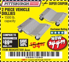 Harbor Freight Coupon 2 PIECE 1500 LB. CAPACITY VEHICLE WHEEL DOLLIES Lot No. 60343/67338 Expired: 10/27/18 - $44.99
