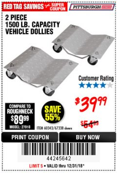 Harbor Freight Coupon 2 PIECE 1500 LB. CAPACITY VEHICLE WHEEL DOLLIES Lot No. 60343/67338 Expired: 12/31/18 - $39.99