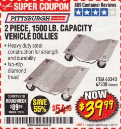 Harbor Freight Coupon 2 PIECE 1500 LB. CAPACITY VEHICLE WHEEL DOLLIES Lot No. 60343/67338 Expired: 2/28/19 - $39.99