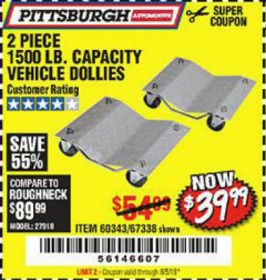 Harbor Freight Coupon 2 PIECE 1500 LB. CAPACITY VEHICLE WHEEL DOLLIES Lot No. 60343/67338 EXPIRES: 6/5/19 - $39.99