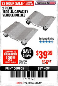 Harbor Freight Coupon 2 PIECE 1500 LB. CAPACITY VEHICLE WHEEL DOLLIES Lot No. 60343/67338 Expired: 4/28/19 - $39.99