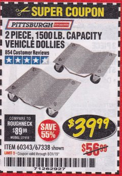 Harbor Freight Coupon 2 PIECE 1500 LB. CAPACITY VEHICLE WHEEL DOLLIES Lot No. 60343/67338 Valid Thru: 8/31/19 - $39.99