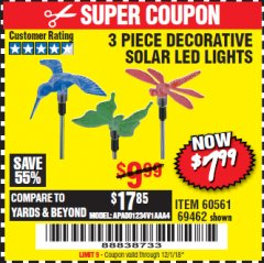 Harbor Freight Coupon 3 PIECE SOLAR DECORATIVE LED LIGHTS Lot No. 60561/69462/95588 Expired: 12/1/18 - $7.99