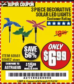 Harbor Freight Coupon 3 PIECE SOLAR DECORATIVE LED LIGHTS Lot No. 60561/69462/95588 Valid Thru: 12/14/19 - $6.99