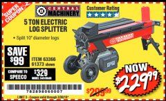Harbor Freight Coupon 5 TON ELECTRIC LOG SPLITTER Lot No. 61373 Expired: 3/30/19 - $229.99