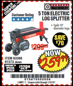 Harbor Freight Coupon 5 TON ELECTRIC LOG SPLITTER Lot No. 61373 Valid: 9/17/19 11/2/19 - $259.99