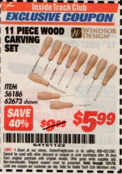 Harbor Freight ITC Coupon 11 PIECE WOOD CARVING SET Lot No. 62673/60655 Expired: 7/31/19 - $5.99
