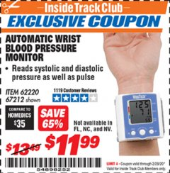 Harbor Freight ITC Coupon AUTOMATIC WRIST BLOOD PRESSURE MONITOR Lot No. 67212/62220 Expired: 2/29/20 - $11.99