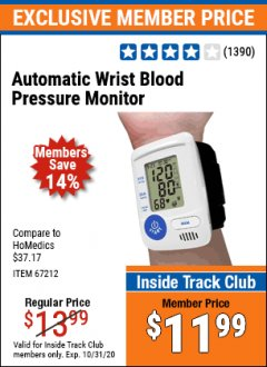 Harbor Freight ITC Coupon AUTOMATIC WRIST BLOOD PRESSURE MONITOR Lot No. 67212/62220 Expired: 10/31/20 - $11.99