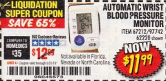 Harbor Freight Coupon AUTOMATIC WRIST BLOOD PRESSURE MONITOR Lot No. 67212/62220 EXPIRES: 5/31/19 - $11.99