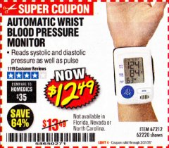 Harbor Freight Coupon AUTOMATIC WRIST BLOOD PRESSURE MONITOR Lot No. 67212/62220 Expired: 3/31/20 - $12.99