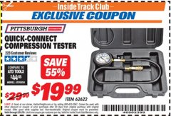 Harbor Freight ITC Coupon QUICK CONNECT COMPRESSION TESTER Lot No. 62622/95187 Dates Valid: 5/3/19 - 5/31/19 - $19.99