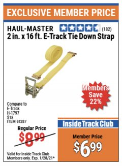 "Harbor Freight ITC Coupon 2"" X 16 FT. E-TRACK TIE DOWN STRAP Lot No. 62758/61287/66727 Expired: 1/28/21 - $6.99"